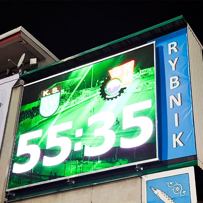 Ekran LED P10 Stadion Miejski w Rybniku - TDC Polska -