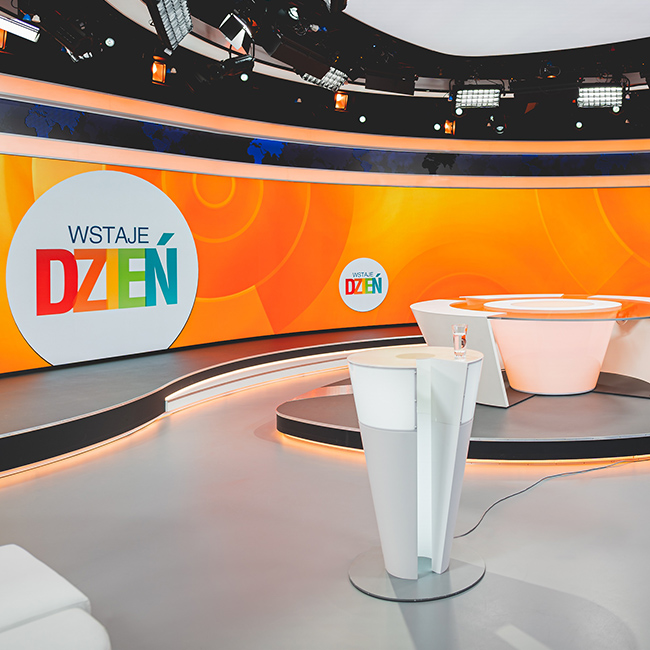 Ściana wideo LED P1.6 dla studia TVP INFO, Warszawa