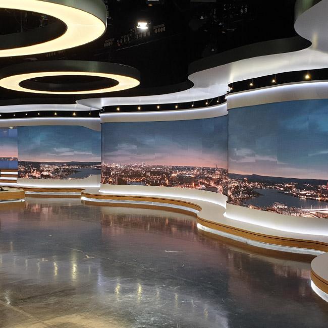 Ściany wideo LED P1.8 dla Stacji telewizyjnej SVT, Sztokholm, Szwecja